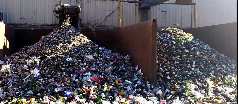 A pile of glass recyclate